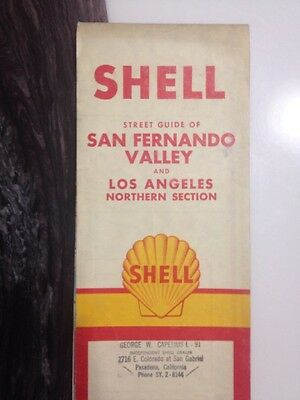 Rare Vtg 1950s Shell Gas Station Map Los Angeles Northern Area