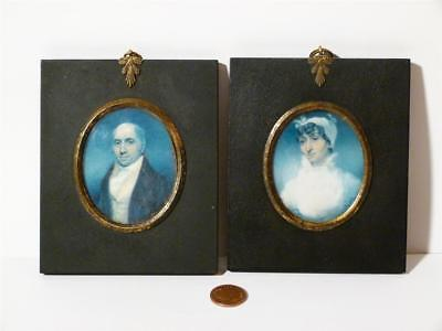 19thC Mr & Mrs JAQUES of RISELEY HALL - RIPON Pair Antique Portrait Miniatures