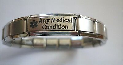 Medical Alert Bracelet Personalised  Any Condition  Illness  Ailment   Allergy