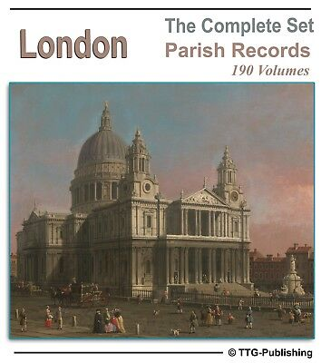 London Parish Registers - 190 Books on DVD - History Genealogy Family Records N0