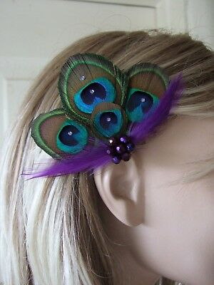 """MADE IN UK Peacock Feather Fascinator Hair Clip Purple Green Brown Party """"Noa"""""""