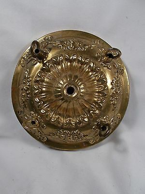Vintage Embossed Brass 4 Chain Ceiling Canopy Sconce Canopy 8inches wide c1920s+