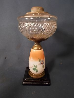Victorian Composition Oil Lamp with Fancy Floral Stem & Cast Iron Foot c1880s