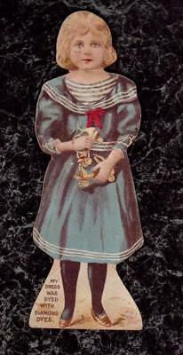 Girl with Roller Skates Paper Doll Diamond Dyes Die Cut Victorian Trade Card