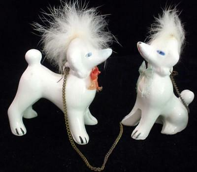 Two Vintage Unmarked Porcelain Ceramic Poodle Figurines With Chain