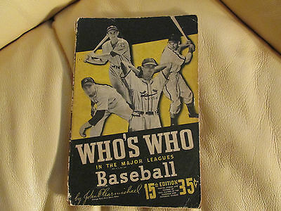 "Vintage 1947 ""who's Who In The Major Leagues Baseball"" 15Th Edition Magazine"