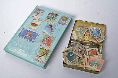 Collection of Maldives in a small Stock Book  + world collection in an old tin