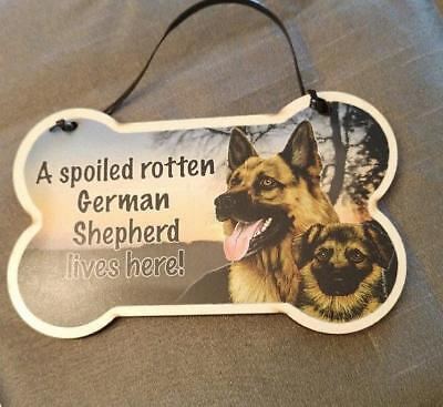 Small Dog Bone Shaped Wooden Plaque Spoiled Rotten German Shepherd Made USA