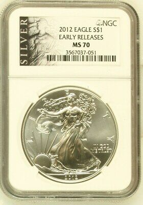 2012 American Silver Eagle $1 Dollar Coin Early Releases (Als Label). Ngc Ms 70