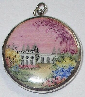 Beautiful Antique Victorian Silver Hand Painted Enamel Locket Floral Garden Home