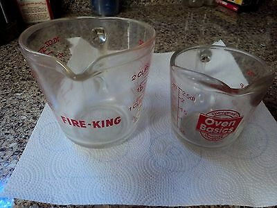 Fire King 2 Cup Measuring Cup, OVENPROOF 1 CUP GLASS WITH RED LETTERING NO CHIPS