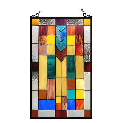 """Stained Glass 26"""" Mission Style Vibrant Color Window Pan Art NEW"""