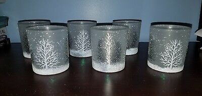 White Frosted Trees Glass Votive Candle Holder Glitter Sparkle Winter set of 6