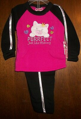 Girls Pant Set sz 12 mos 2B REAL Pink & Black PURRFECT Just Like Mommy/Cat NWT