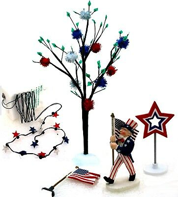 Dept. 56 4th of July Decorating Set of 5 w. Red, White & Blue Lights 53024 New