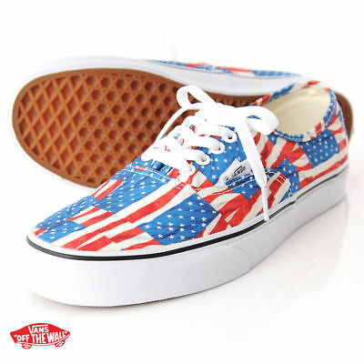 Vans-AUTHENTIC FREE FLAG RED WHITE-Skate-Shoes-MENS SIZE CLASSICS 8.5
