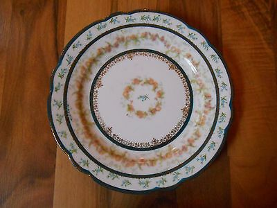 Old Vintage or Antique Plate Imperian Crown China Austria Flowers Gold Art Deco