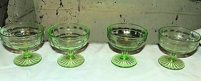 Block Optic green 4 low footed round depression glass sherbet dishes