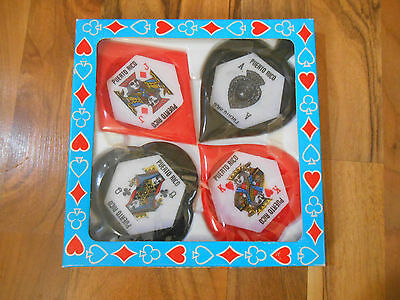 Old Vintage Souvenir Coaster Set of 4 Puerto Rico Face Playing Card Suits in Box