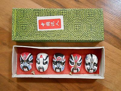 Old Vintage Asian Masks in a box. 5 makeup Opera masks attached to bottom of box