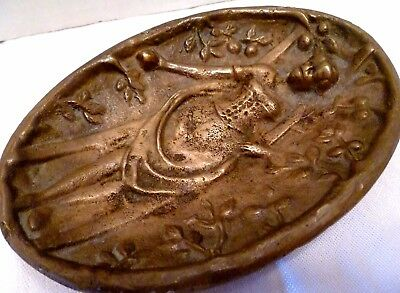 Victorian NAUGHTY LADY Picking FRUIT Antique CAST BRASS Metal ASHTRAY Tray Dish