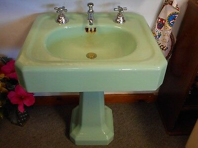 Antique Vintage Porcelain Cast Iron Seafoam Green Pedestal Bathroom Sink