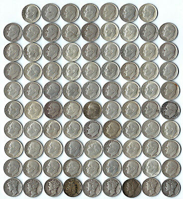 Lot of 88 DIMES 90% Silver ~ 79 Roosevelt & 9 Mercury ~ Assorted, Circulated