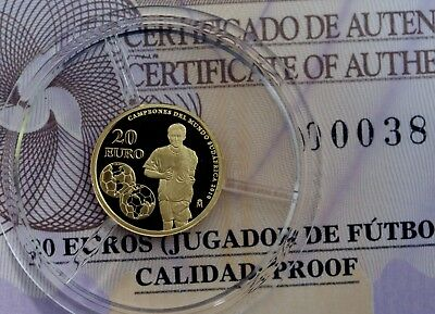 Spain 2010 FIFA World Cup Winners 20 Euros 999 Gold Proof Coin  w/COA + Case