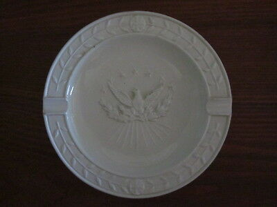 Vintage WHITE ASHTRAY made in ITALY EAGLE CREST IN CENTER