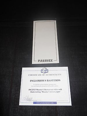 Inglourious Basterds Movie Prop Maurices Restaurant Invoice Paper