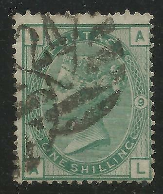 GREAT BRITAIN 1867 1/- GREEN, WMK 33, Plate 9,S.G 117,USED (o)