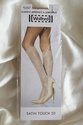 Wolford Satin Touch Sheer Knee Highs Cosmetic Tan Small RRP £19