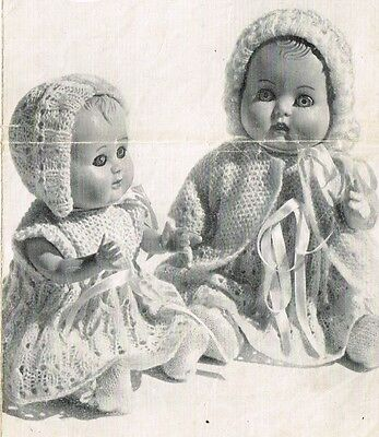 """Dolls clothes knitting pattern for  7"""" & 10"""" Baby doll.   ( V Doll 58)"""