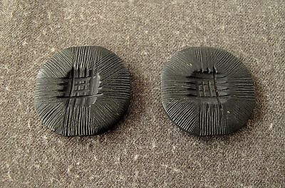 2 Antique 1930's Art Deco Flapper Carved Black Galalith Flower Large Buttons