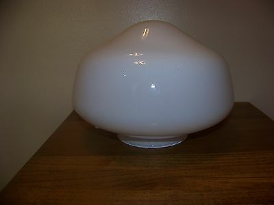 """Vintage industrial school house white glass ceiling light shade 3 7/8"""" Fitter"""