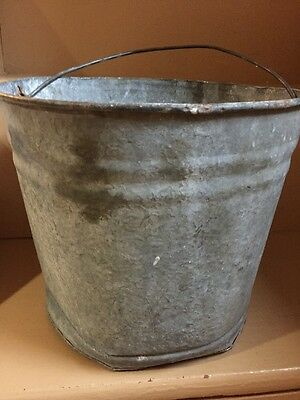 "Vintage Galvanized Steel Bucket, Pail,  110, 10"" Diameter 9"" Tall"