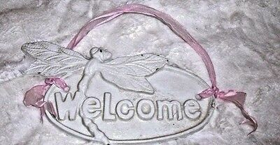 VINTAGE Ivory METAL DRAGONFLY WELCOME PLAQUE Sign Shabby Cottage Decor SWEET