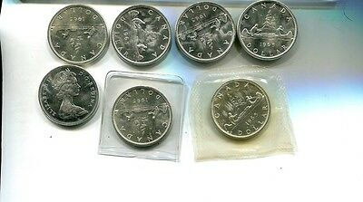 Canada 1965 Silver Dollar Lot Of 7 Choice Bu P/l 9388H