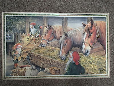 Swedish Christmas Poster Print by Erik Forsman Tomtar with Horses 504601