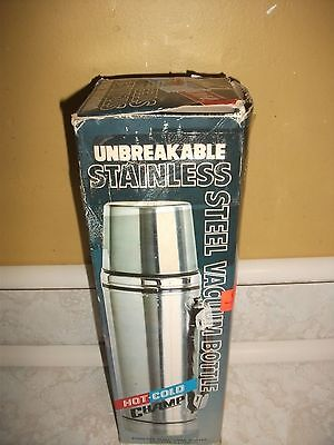 Vtg Stainless Steel Unbreakable Hot/Cold Vacuum Bottle Thermos 1 Litre / 33oz