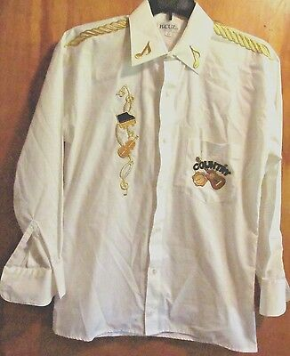 NWOT Vintage Western Shirt  Mens Small 30 31 B CUZ country Music appliques