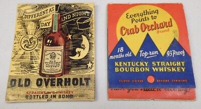 2 Vintage Large Oversize Old Overholt & Crab Orchard Whiskey Match Books