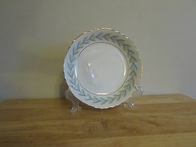 """W S George China Radisson 7-1/2"""" Coupe Soup Bowl White Yellow Tulip Blue Leaves"""