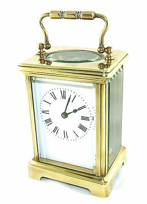 English Brass & Bevelled Glass Carriage Clock with Key : Working Order (36)