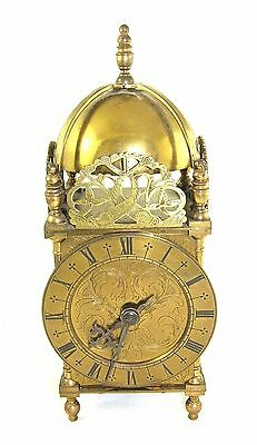 Large Antique Style Brass Lantern Clock FRENCH Movement : RUSSELLS LTD LIVERPOOL