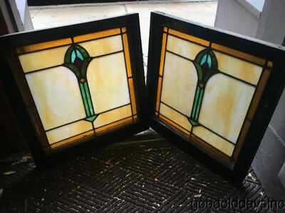 "Pair of Art Deco Stained Leaded Glass Windows 25"" by 24"""