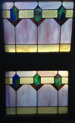 "Beautiful Pair of  Art Deco Stained Leaded Glass Windows from Chicago 24"" by 19"""