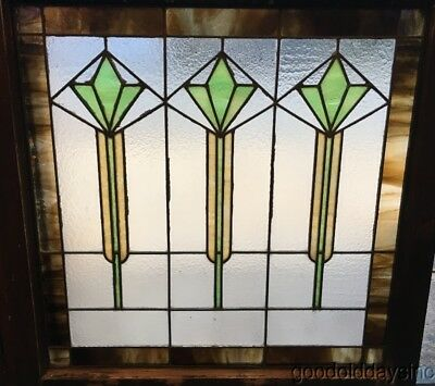 "Large Antique Art Deco Stained Leaded Glass Window 33"" by 32"""