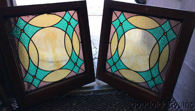 "Pair of Antique Stained Leaded Glass Windows w/ Jewels Circa 1900 23"" by 22"""