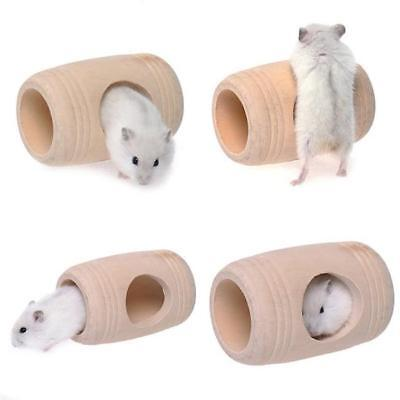 Wooden Nest Wood Tunnel Tube Hut House for Hamsters Mice Gerbils Toys LA
